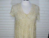 Reserved for Ginger Vtg yellow lace maxi dress with slip size 18 Good 1930's costume