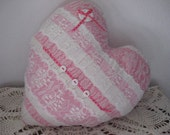 Heart Pillow Valentines Day Pink and White Candy Stripe Heart with Lace, from Vintage Coverlet Piece Home Decor Decorative Pillow