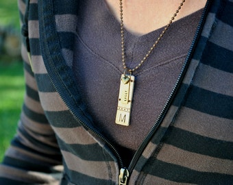 Unique Custom Monogram Pendant Necklace - Hand stamped Custom Bronze Bars - Remembrance Pendant - Copper - Aluminum Backer - Wire Wrap