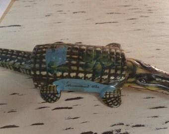 Early Tin Metal Florida Souvenir ALLIGATOR NODDER Vibrant Colors md Japan Toy