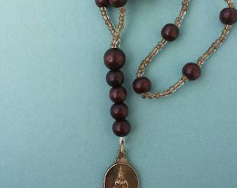 Kette Buddha antik unisex Ethno Boho Holz wood pearl spirit Anhänger bronze antique