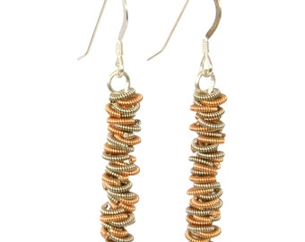 Two-Tone Staccato Dangle Recycled Guitar String Earrings Gift for Musician or Music lover