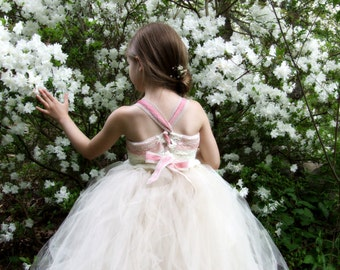 Flower Girl Dress Camellia Lace Velvet and Tulle