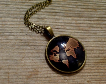 Map Pendant Necklace, Globe Pendant, Continents Necklace, World Traveler, Map Art Image Pendant, Antiqued Brass Plated Chain