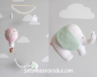 Hot Air Balloon Elephant Baby Mobile, Nursery Decor, Travel, Circus Theme, Baby Shower Gift, i156