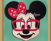 Nerd Minnie Mouse Face No Sew Applique Patch
