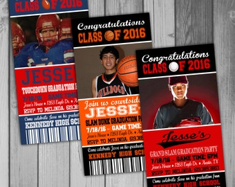 Graduation Invitation Graduation Party Sports Ticket Sports Invitation Printable Invitation High School Graduation College Graduation