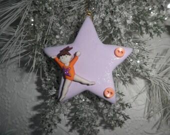 Polymer Clay Ornament - Personalized Gymnastics Ornament, Gift, Keepsake