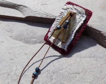 Windswept - Rustic Mixed Media Fiber Pin Textile Brooch