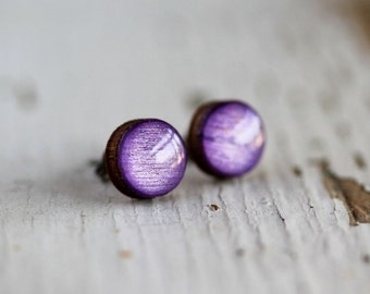 Metallic Purple Handpainted Post Earrings - Titanium - Nickel Free Hypoallergenic 9mm
