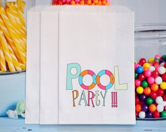 Pool Party Favor bags, Pool Party Treat Bags, Pool Party Goody Bags, Party Favor Treat Bags,  GLAMOROUS SWEET EVENTS