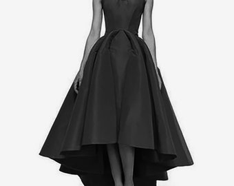 SALE black asymmetric dress Sweetheart Ceremony gown FREE SHIPPING