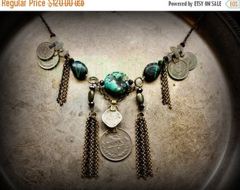 10% OFF Chunky Tribal Turquoise Necklace with Brass Chain Tassels and Kuchi Coins