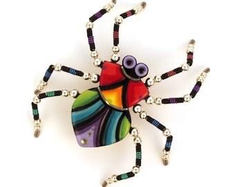 Spider Pin Spider Bug Brooch Handmade Ceramic by Sean Brown