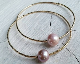 Lavender & Light Pink Edison Pearl Bangle- edison pearls, pearl bangle, bangles, hawaii, kauai