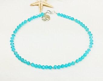 Aquamarine Sand dollar Anklet Sandollar Anklet Crystal Ankle Bracelet Silver Anklet Beach Anklet Beach Jewelry Sterling Silver Buy3+1 Free
