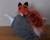 Hand Knitted Tea Cosy - Fox with Bushy tail - as seen on Gogglebox