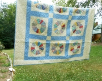 Vintage Quilt Blue and White Bedding Handmade Dresdan Plate Quilt