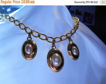 40% OFF SALE Napier Gold and Faux Pearl Statement Necklace
