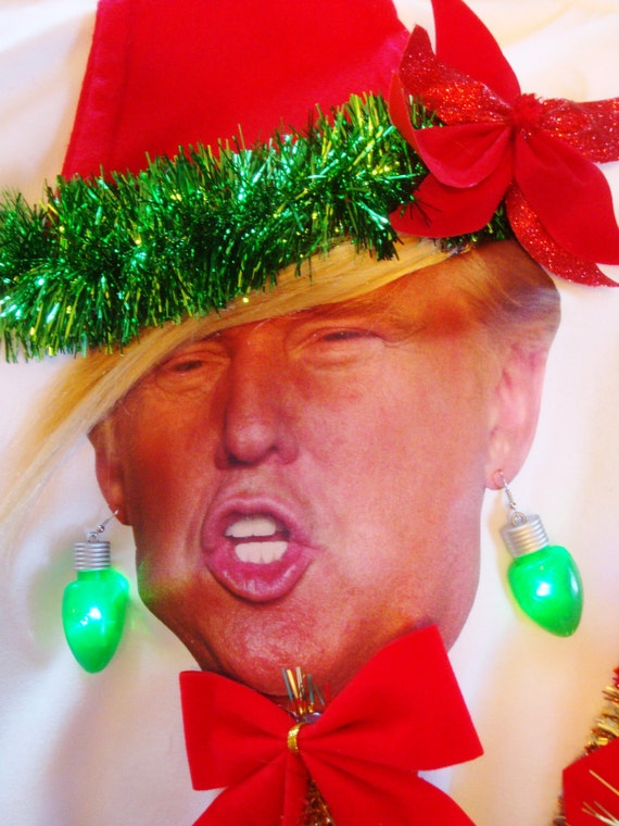 TRUMP Christmas Sweater Donald Trump Funny LiGHT uP Comb Over
