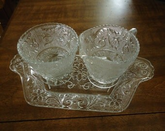 Indiana Clear Glass Creamer and Sugar Set on Tray