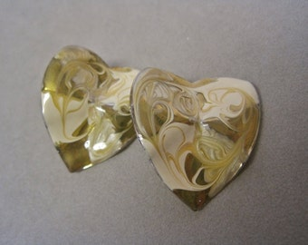 Heart Earrings Vintage 80s Enamel Freeform Gold and Cream Shiny Enamel Posts Button Style Valentines Day Gift