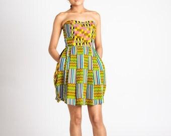 Mixed African Print Mini Dress Green Mustard Teal