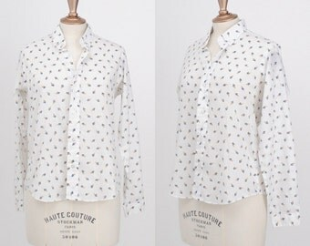 Vintage 1970s / Ms Sero Tiny Art Palette Poly Cotton Blouse  / Size Medium/Large