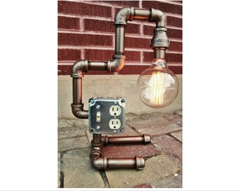 Steampunk Lamp Table Lamp - Steampunk lighting, industrial pipe decor, Bronze Metal Pipe light fixture - Industrial Lighting w/ Edison Bulb