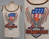 70s Harley Davidson Motorcycle Classic Eagle Cotton Biker Tank