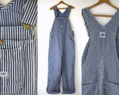 1950s LEE Overalls Hickory Stripe Union Made Conductors Workwear Sanforized Denim Overalls W34