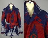 Ralph Lauren Navajo Blanket Wool Sweater Wrap Sweater Shawl Collar Jacket