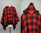 70 Buffalo Check Poncho Flannel Shadow Plaid Hooded Pullover Cape Jacket