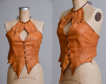70s Custom Leather Hand Stitched Deerskin Keyhole Front Hippie Halter Top
