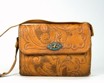 60s Tooled Leather w/ Turquoise Southwest Shoulder Bag Purse