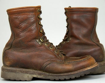 Vintage LL Bean Setter Style Moc Toe Sport Hunting Boots Made in Freeport Maine USA, 8.5 / 9 Mens