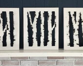 "Birch Tree Paintings-Set of 3 16""x20"""