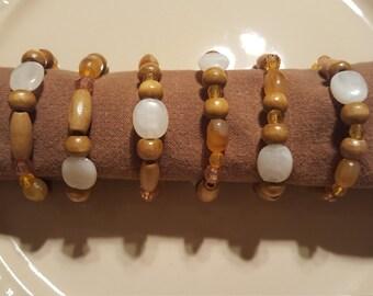 Wooden Napkin Rings, Beaded Napkin Rings, Set of 6 Napkin Rings