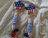 Patriotic stars and stripes ear rings