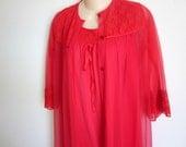SALE -RED chiffon peignoir nylon nightgown & robe set  sexy lingerie M L