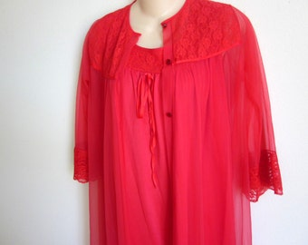 SALE -RED chiffon peignoir nylon nightgown & robe set  sexy lingerie M L