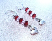 Red & Pink Crystal Beaded Dangle Earrings with Silver Rose Heart Charms, Handmade Original Fashion Jewelry, Love Romance Hearts Flowers Gift