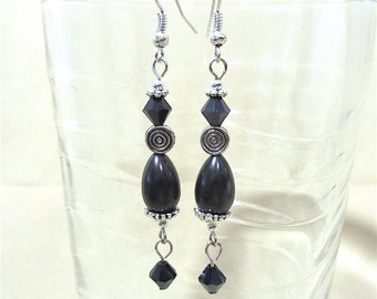 Handmade Original Jet Black Glass Teardrop, Silver Spiral Bead & Jet Swarovski Crystal Dangle Earrings
