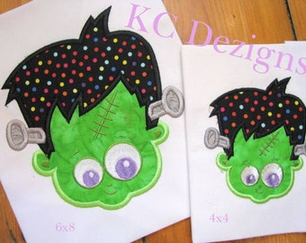 Frankenstein Boy Face Machine Applique Embroidery Design - 4x4, 5x7 & 6x8