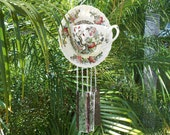 OOAK Teacup Windchime, Stained Glass Wind Chimes, Glass Garden Decor, Tea Cup Wind Chimes, Recycled Garden Art, Unique Wind Chimes, Yard Art