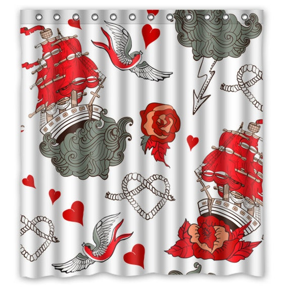 Rockabilly shower curtain tattoo art shower curtain for How to shower with a new tattoo