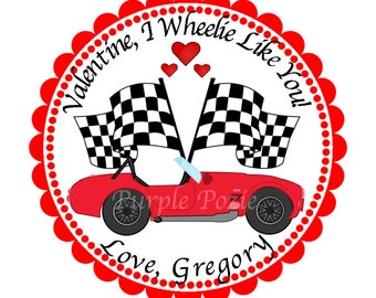 Valentine Race Car Labels