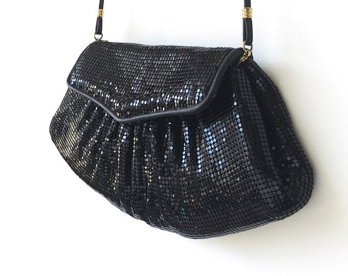 Vintage Whiting and Davis Purse, Disco Style Purse, Black Sparkly Metal Handbag, Stamped. Metal Mesh Purse. Black Designer Purse.