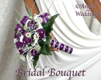 CELESTE PURPLE Wedding Bouquet Package Silk Flowers Arrangement Bouquets Custom Corsage Boutonnieres Groom Bridesmaids Keepsake