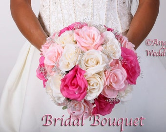 ABELLA PINK FUSCHIA Wedding Bouquet Package Bridal Bridesmaid Groom Boutonnieres Corsages Keepsake Bouquets Roses Silk Floral